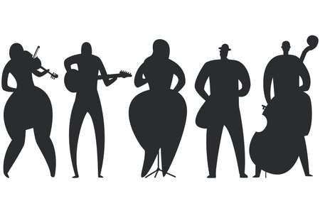 Jazz musicans, singer, guitarist, saxophonist, double bass player and violinist black silhouette vector set isolated on a white background.