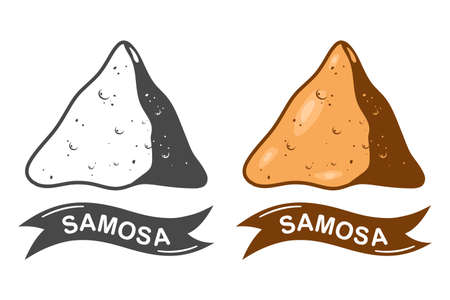 Samosa indian food vector cartoon illustration isolated on a white background.