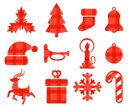 Christmas silhouette of Santa hat, reindeer, snowflake, ball, tree, mistletoe, candle, candy cane, bell, gift box and sock. Vector element set isolated on white background.