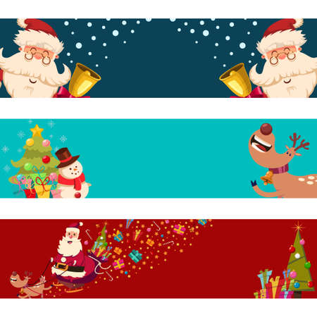 Christmas banners with Santa Claus, reindeer, snowman and tree vector set isolated on a white background.