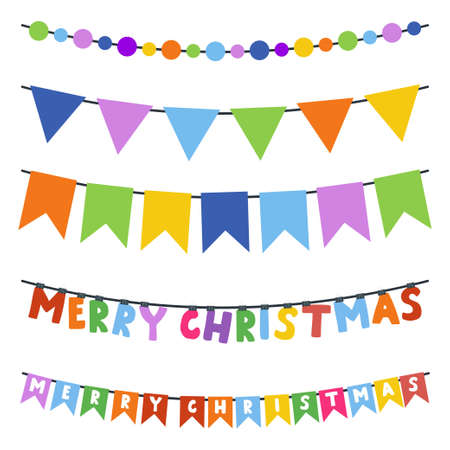 Christmas bunting garland vector cartoon set isolated on a white background.