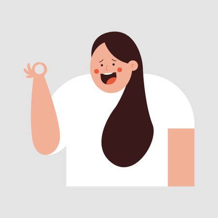 Happy girl showing symbol ok vector cartoon character isolated on background.