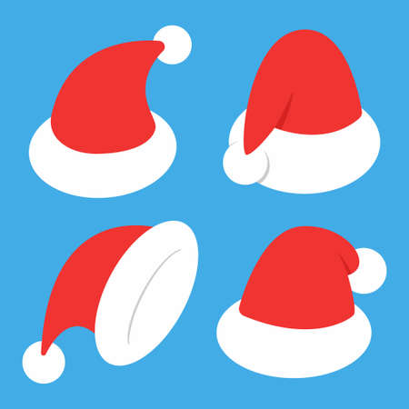 Santa hat vector simple icons set isolated on a blue background.