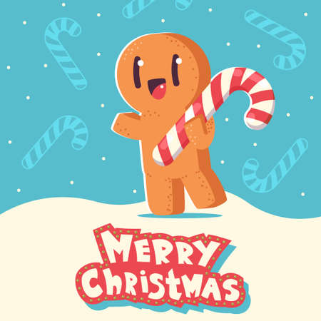 Christmas greeting card with cute gingerbread man cookie vector cartoon character on snowy background.