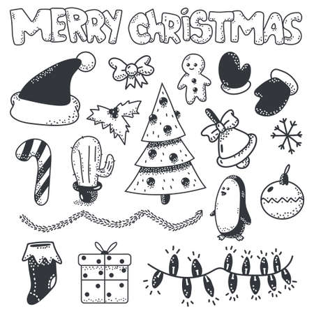 Merry Christmas doodle sketch element vector set isolated on a white background.
