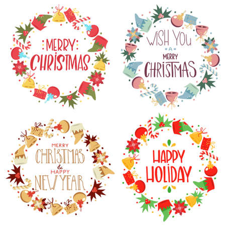 Christmas wreath with handwritten greeting text vector cartoon decorative holiday elements set isolated on white background.
