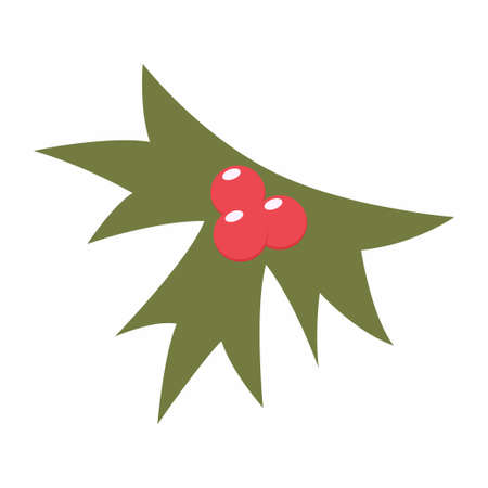 Holly berry leaves vector cartoon simple icon isolated on a white background.