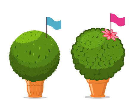 Manjerico plant with flag in a pot. Vector cartoon illustration isolated on a white background.