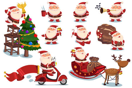 Funny and cute Santa Claus and Christmas elements vector cartoon characters set isolated on a white background. Stock Illustratie