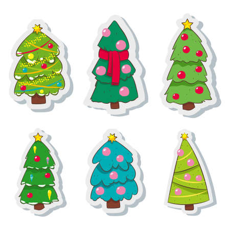 Cartoon Christmas tree decorated colorful balls, garland, scarf and a star on top. Vector illustration set isolated on white background. Çizim