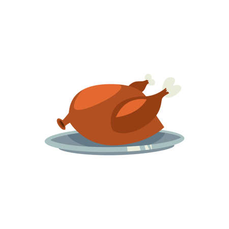 Turkey dinner vector cartoon flat icon for Thanksgiving day isolated on white background. Roasted chicken on a plate or tray.