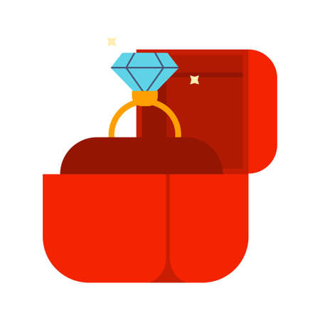 Diamond engagement ring in red box. Cartoon vector flat illustration isolated on white background.