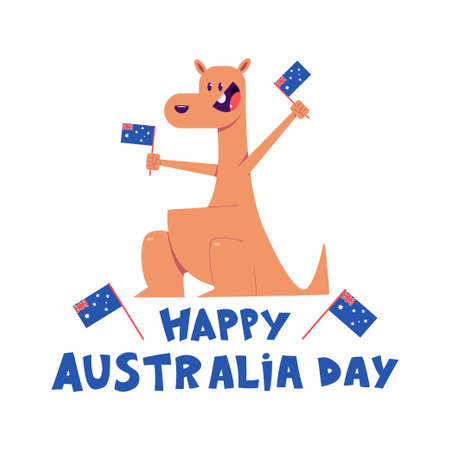 Happy Australia Day vector concept illustration with cute kangaroo characters isolated on a white background.