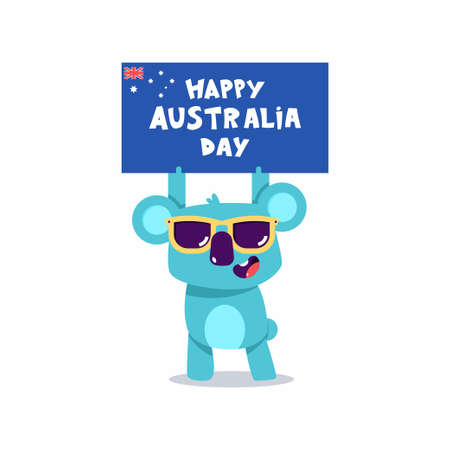 Happy Australia Day vector concept illustration with cute koala characters isolated on a white background. Vektorové ilustrace