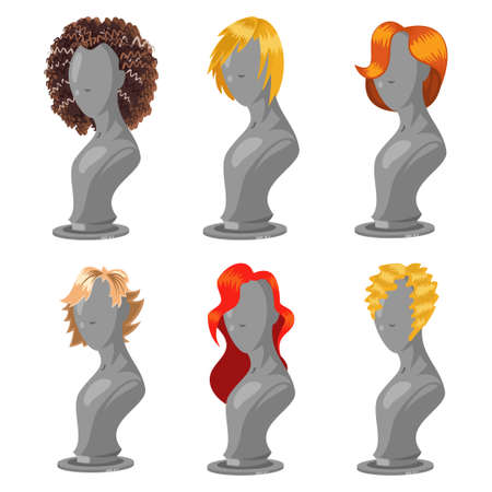 Woman hair style on fashion mannequin. Female wigs of different shapes and colors. Vector cartoon set isolated on a white background.