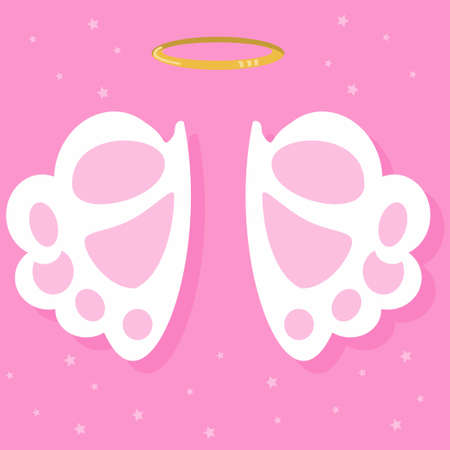 Angel wings and nimbus. Vector illustration on pink background.