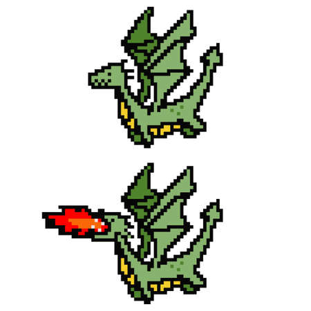 Pixel art dragon. Vector 8 bit game character isolated on white background.