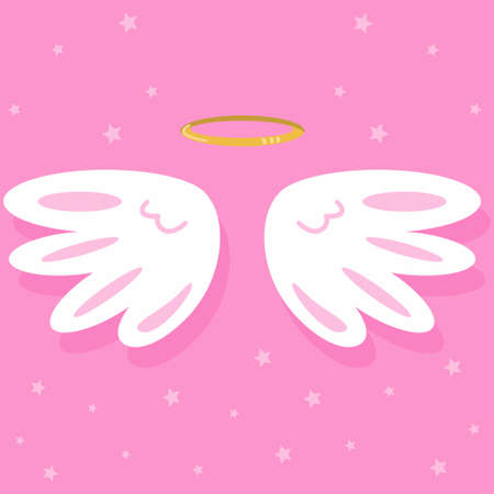 Cute angel wings and nimbus. Vector cartoon illustration on pink background.