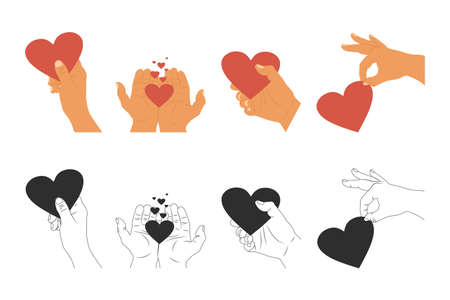 Hands hold heart vector cartoon icons set isolated on a white background.