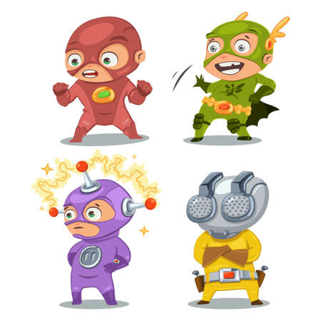 Cute superhero kids in colorful costumes. Set of vector cartoon characters isolated on white background.