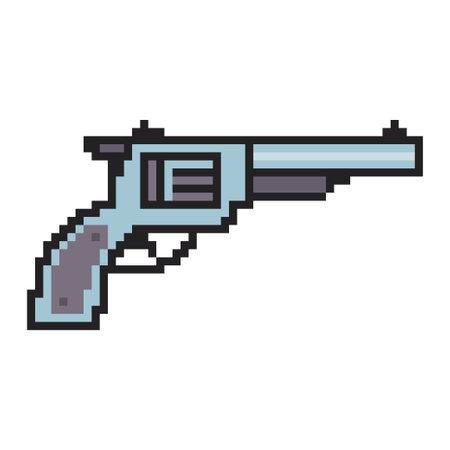 Pixel art gun. Vector 8 bit game web icon isolated on white background.