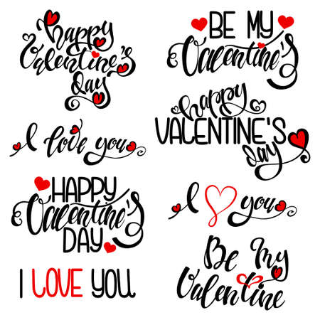 Happy Valentine's day handwritten text design. Black lettering and red heart. Vector calligraphy set isolated on a white background. 일러스트