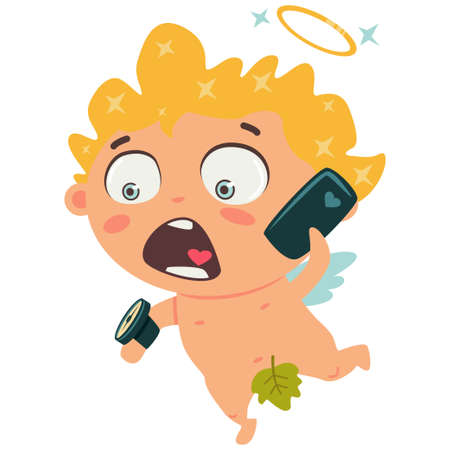Cute cupid talking on smartphone and looking at his watch on his arm. Valentine's Day symbol. Cartoon vector illustration isolated on a white background.