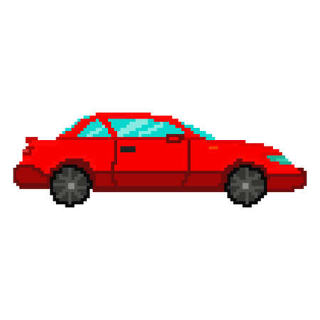 Pixel art red car. Vector 8 bit game web icon isolated on white background. Illustration