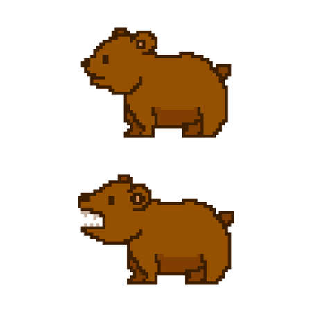Pixel art bear. Vector 8 bit game animal character isolated on white background. 일러스트