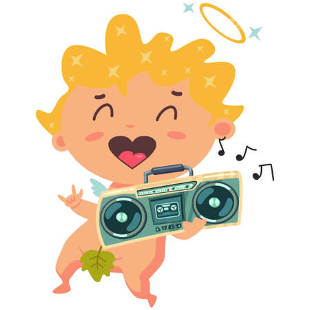 Cute Cupid listening to music on a retro boombox stereo cassette recorder. Valentine's Day symbol. Cartoon vector illustration isolated on a white background.