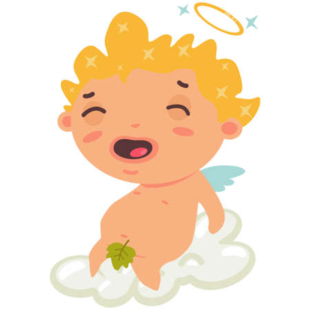 Cute cupid boy sitting on a cloud and having fun. Valentine's Day symbol. Cartoon vector illustration isolated on a white background.