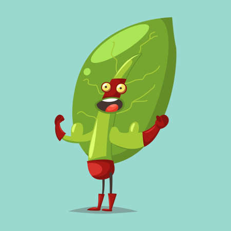 Cute Lettuce cartoon character of a vegetable in a superhero costume, mask and big biceps. Vector concept illustration in a flat style for a healthy eating and lifestyle. 일러스트