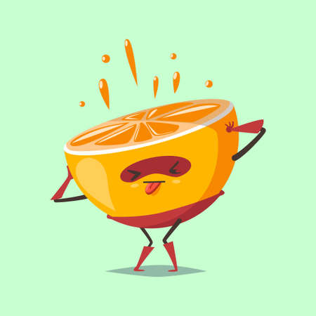 Cute Orange cartoon character of a fruit in a superhero costume and mask, squeezes out fresh juice. Vector concept illustration in a flat style for a healthy eating and lifestyle. 일러스트