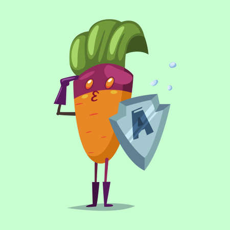 Cute Carrot cartoon character of a vegetable in a superhero costume, mask and metal shield. Vector concept illustration in a flat style for a healthy eating and lifestyle.