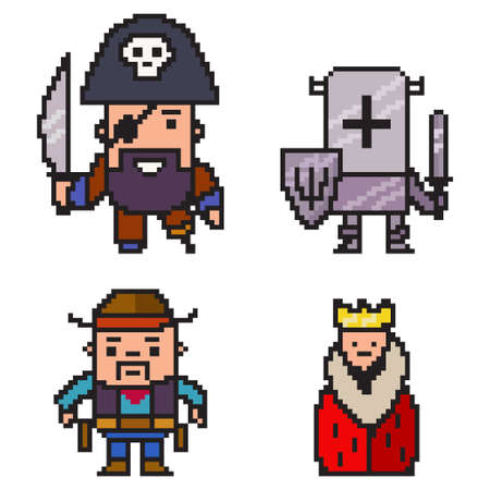 Pixel art pirate, knight, cowboy and queen. Vector 8 bit game character set isolated on white background.