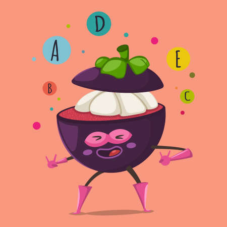 Cute Mangosteen cartoon character of an exotic fruit in a superhero costume, mask and bubbles of vitamins A, B, C, D, E. Vector concept illustration in a flat style for a healthy eating and lifestyle.
