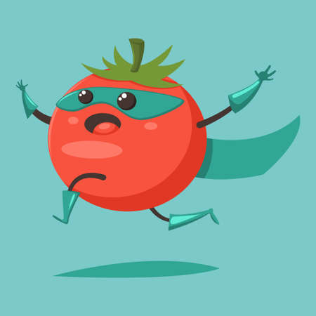 Cute happy Tomato cartoon character of a vegetable in a superhero costume, mask and cloak. Vector concept illustration in a flat style for a healthy eating and lifestyle. 일러스트