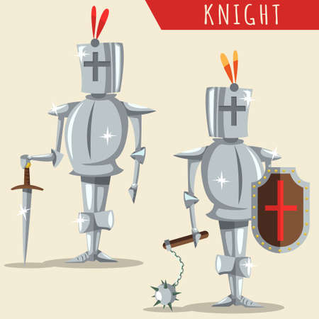 Medieval knight armor with a helmet, sword, shield and mace. Vector cartoon illustration isolated on background. 일러스트