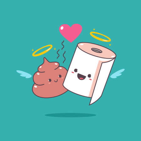 Funny loving couple toilet paper and poop vector cartoon character for Valentine's Day. 일러스트