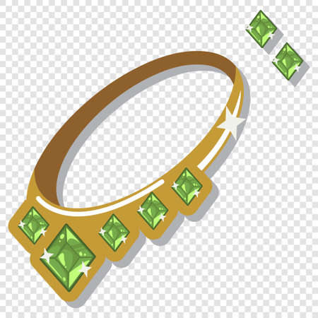 Jewelry accessories: necklace and earrings with green gemstones. Vector cartoon illustration isolated on a transparent background. 일러스트