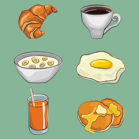 Breakfast cartoon vector set: fried eggs, coffee, pancakes, cereal, orange juice, croissant. Traditional food icon collection isolated on background. 일러스트