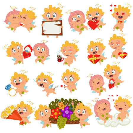 Cupid with different emotions, with arrow, red heart ring box, ribbon banner, chocolate and more. Vector Valentine's Day set. Collection of cute cartoon characters for holiday isolated on background.