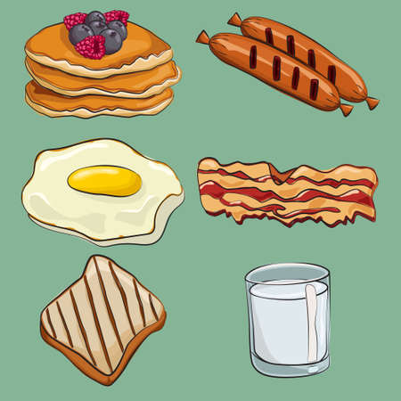 Breakfast cartoon vector set: fried eggs, toast, bacon, pancakes, milk, sausages. Traditional food icon collection isolated on background. 일러스트