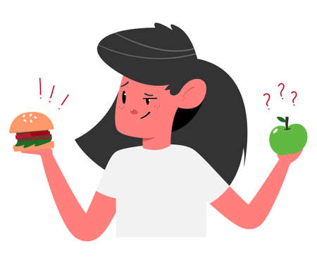 Choosing between healthy and unhealthy food concept illustration with cute girl with burger and apple vector cartoon character. 일러스트