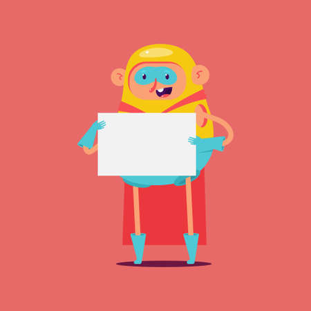 Cute superhero with empty sign board vector cartoon character isolated on background.