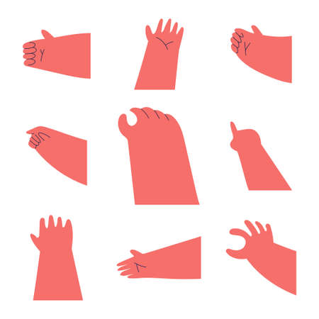 Cartoon hands vector set isolated on a white background. 일러스트