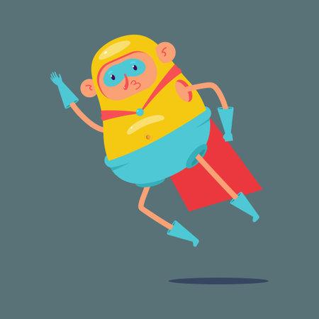 Funny flying superhero vector cartoon character isolated on background.