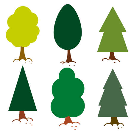 Minimal tree vector flat set isolated on white background. 일러스트
