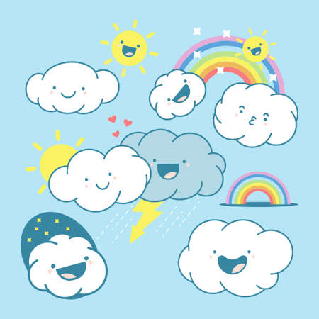 Cute cloud, sun and rainbow vector cartoon characters set isolated on a white background. 일러스트