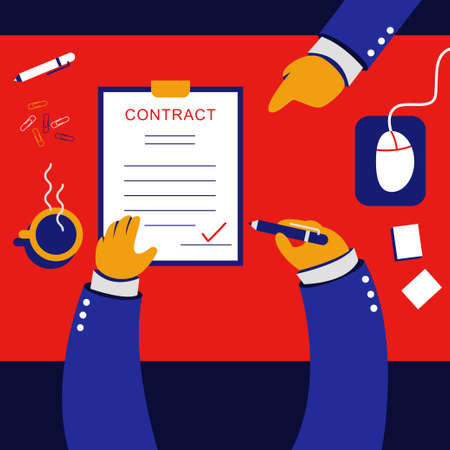 Signed contract vector cartoon concept illustration top view.